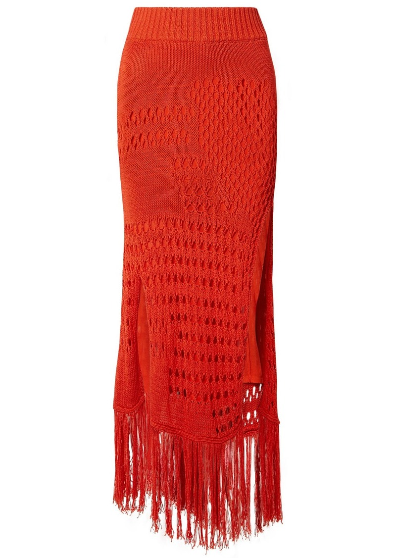 Altuzarra Benedetta Fringed Open-knit Cotton-blend Maxi Skirt