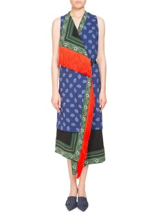 Altuzarra Bina Sleeveless Mixed-Print Faux-Wrap Dress w/ Fringe Trim