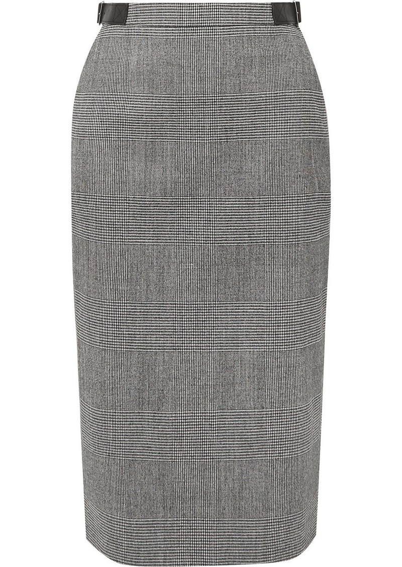 Altuzarra Bolan Leather-trimmed Prince Of Wales Checked Wool-blend Skirt