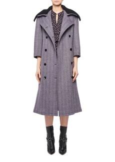 Altuzarra Chesler Double-Breasted Herringbone Top Coat w/ Removable Crochet Collar