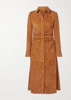 Altuzarra Claudia Ruched Suede Midi Shirt Dress