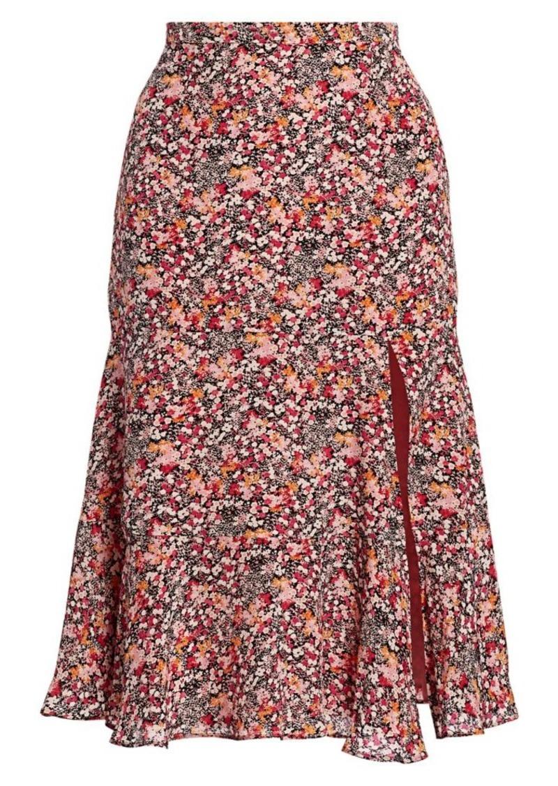 Altuzarra Clementine Dragon Fruit-Print Silk Midi Skirt