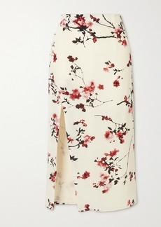 Altuzarra Edmund Button-embellished Floral-print Silk Midi Skirt