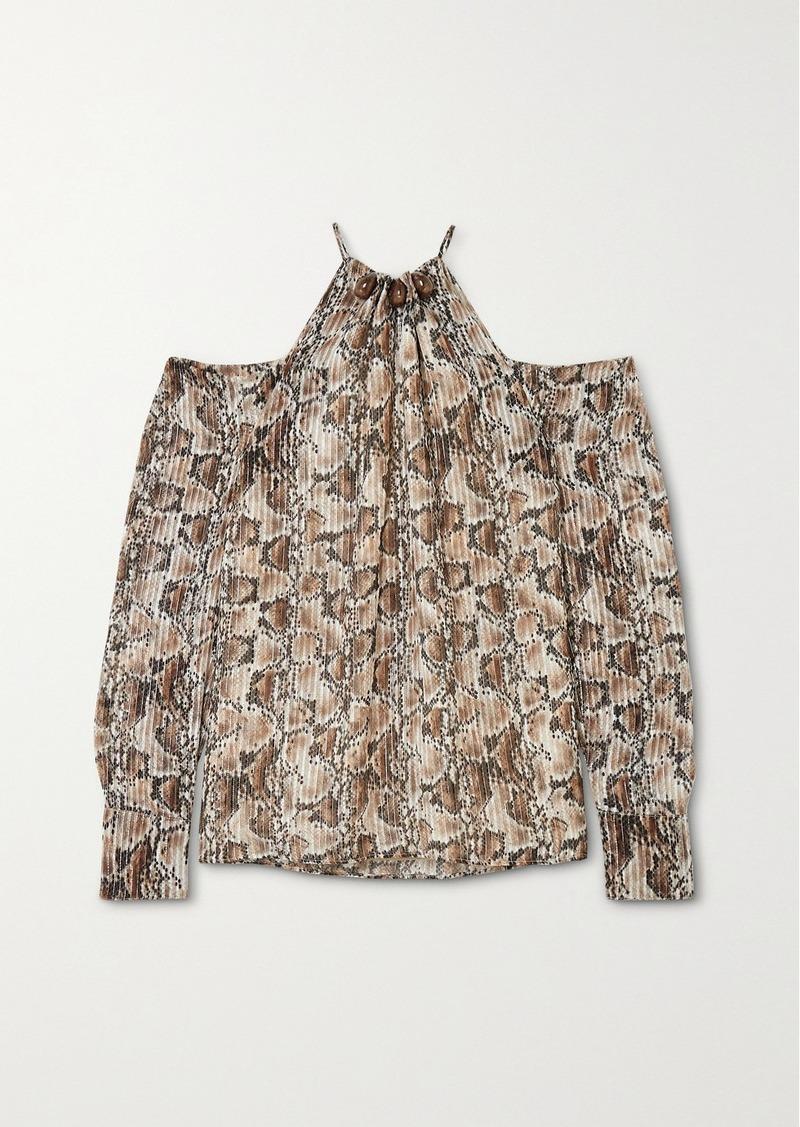 Altuzarra Elijah Cold-shoulder Bead-embellished Snake-print Silk-blend Blouse