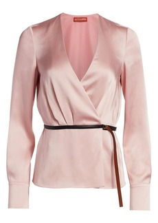 Altuzarra Erika Satin Belted Wrap Top