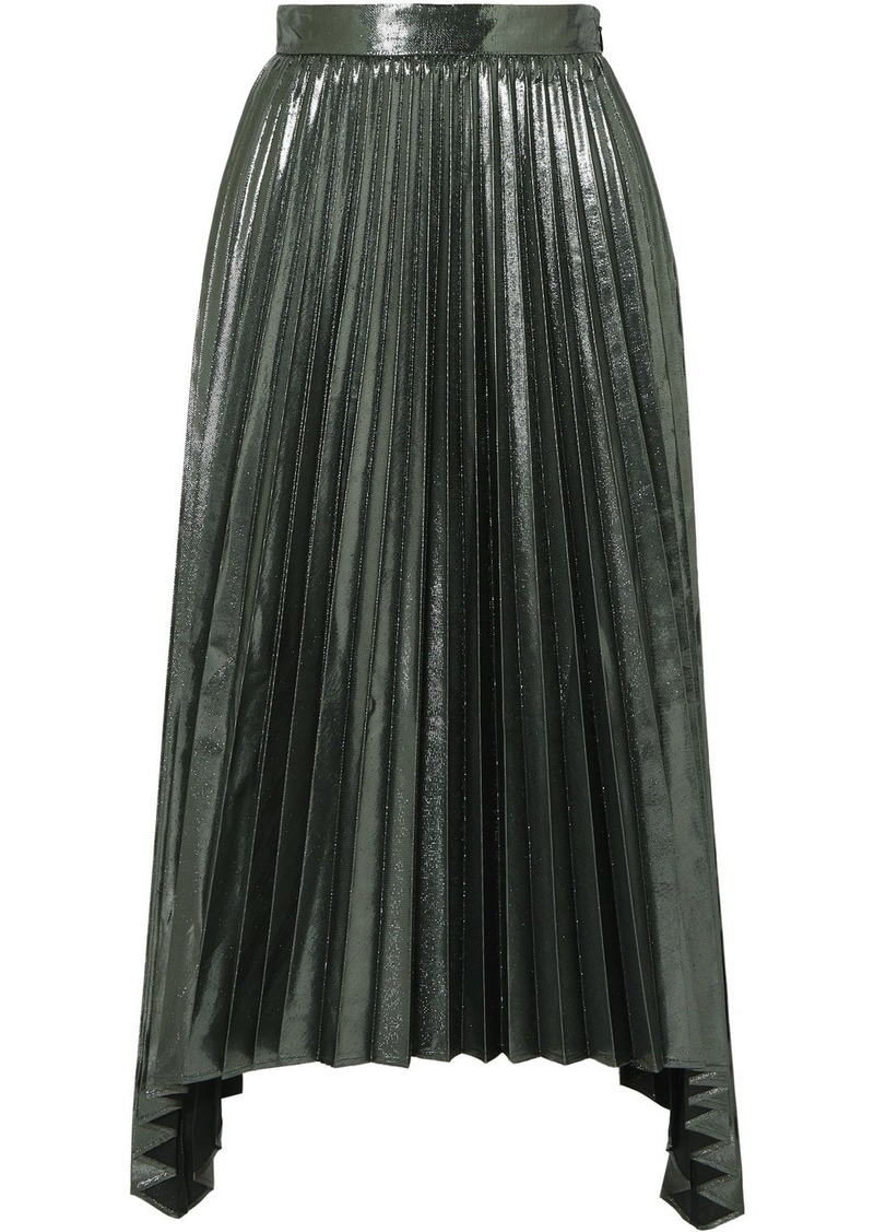 Altuzarra Freya Asymmetric Pleated Lamé Midi Skirt