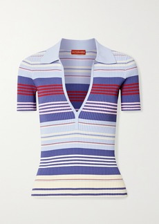 Altuzarra Hatch Striped Ribbed-knit Top