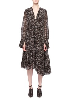 Altuzarra Isabel V-Neck Long-Sleeve Floral-Print Tiered Midi Dress