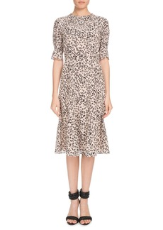 Altuzarra Jae Shirred-Neck Short-Sleeve Leopard-Print Silk Dress