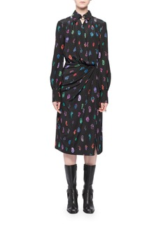 Altuzarra Long-Sleeve Feather-Print Silk Collared Wrap Dress