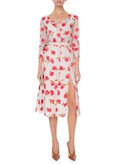 Altuzarra Long-Sleeve Floral V-Neck Dress