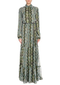 Altuzarra Long-Sleeve Printed Silk Creponne Maxi Dress