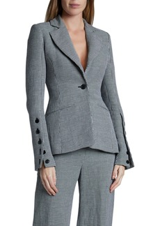 Altuzarra Longview Checked Linen Blazer Jacket