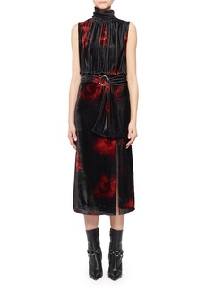 Altuzarra Mock-Neck Sleeveless Floral-Print Velvet Dress