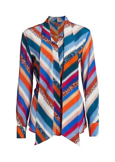 Altuzarra Newberry Sequin Stripe Silk Tieneck Top