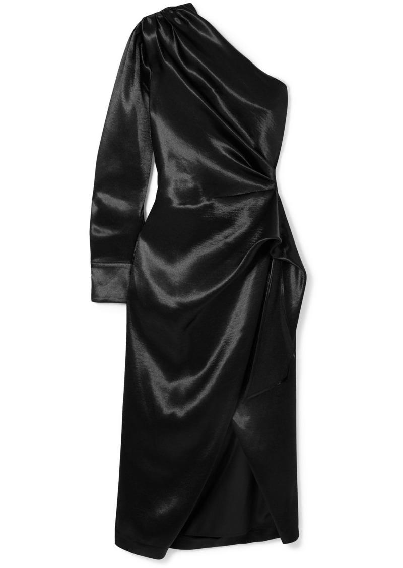 Altuzarra One-shoulder Draped Satin Wrap-effect Dress