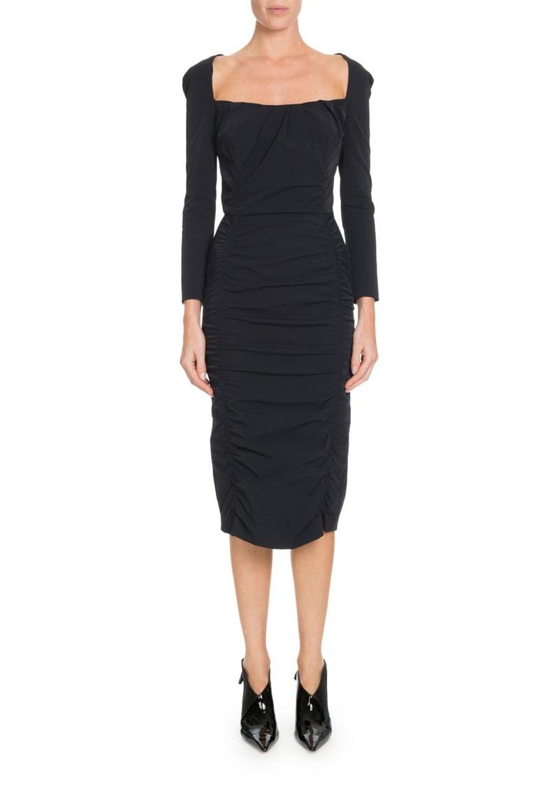 Altuzarra Open-Back Long-Sleeve Ruched Midi Dress