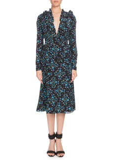 Altuzarra Ourika Deep-V Long-Sleeve Vine-Print Silk Dress w/ Ruffled Trim