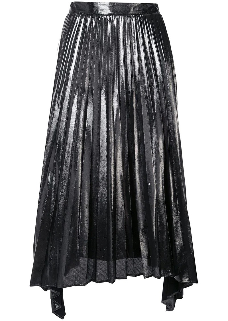 PLEATED ASSYM LAME MIDI SKIRT ALTUZARRA