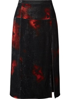 Altuzarra Printed Crushed-velvet Midi Skirt