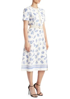 Altuzarra Printed Short Sleeve Belted A-Line Dress