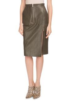 Altuzarra Side-Slit Calf Leather Knee-Length Pencil Skirt