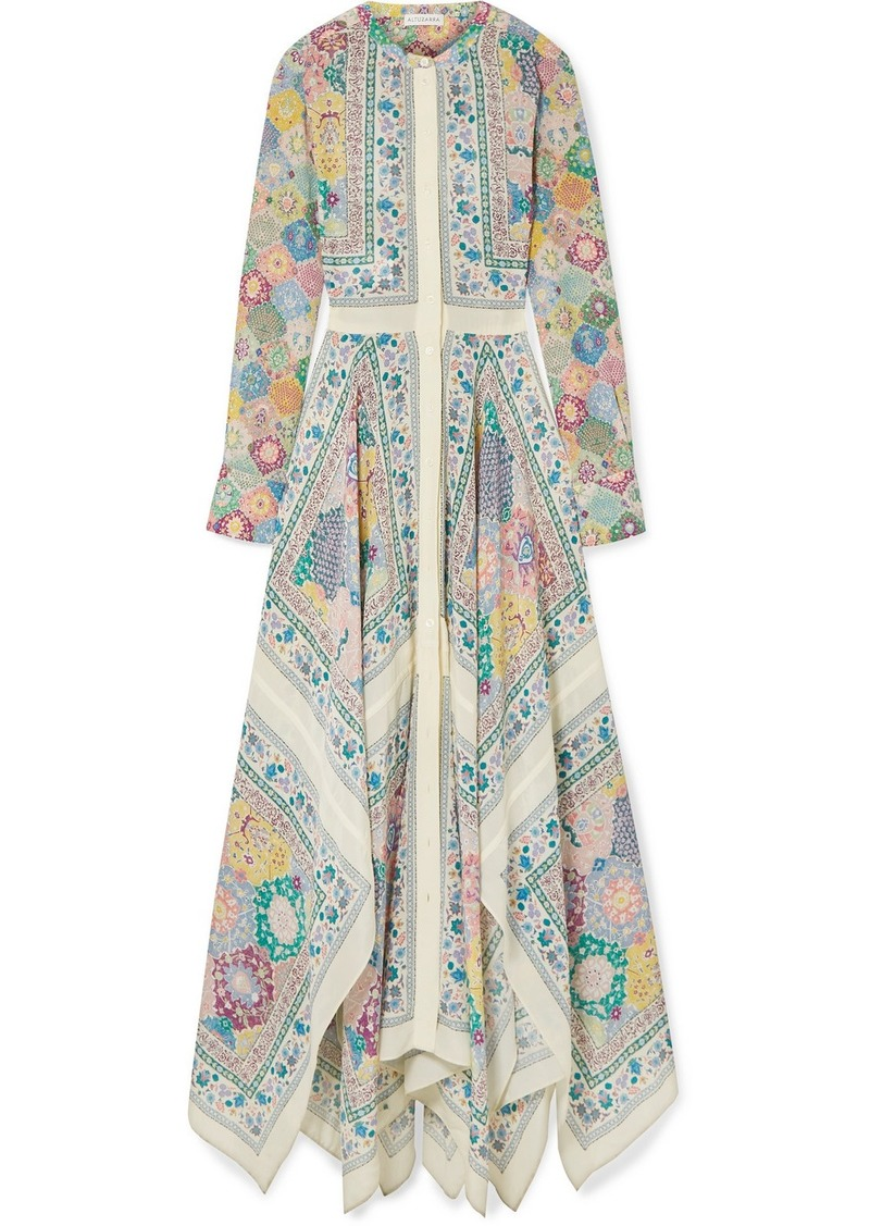 Altuzarra Tamourine Asymmetric Printed Silk Crepe De Chine Maxi Dress
