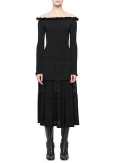 Altuzarra Vendaval Off-the-Shoulder Long-Sleeve Smocked Tiered Midi Dress