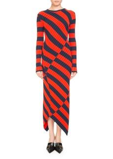 Altuzarra Whistler Asymmetric Wide-Stripe Fitted Knit Dress