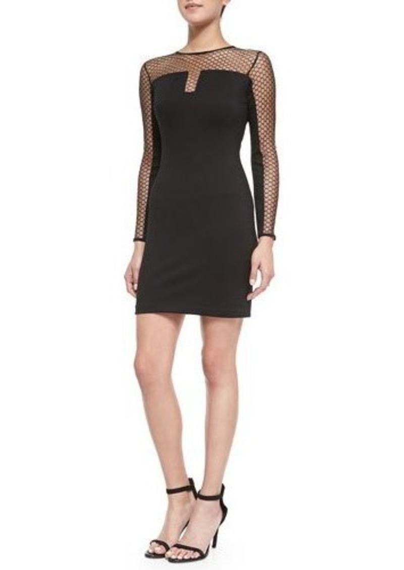 Amanda Uprichard Body-Con Dress with Mesh Sleeves