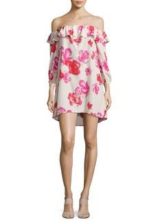Amanda Uprichard Rose-Print Off-The-Shoulder Dress