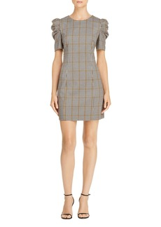 Amanda Uprichard Westwick Puff-Sleeve Plaid Dress