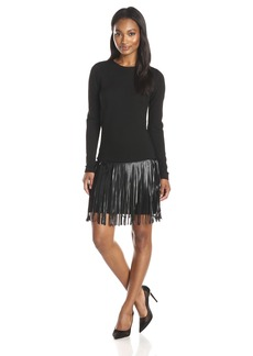 Amanda Uprichard Women's Colt Fringe Skirt Longsleeve Ponte Dress