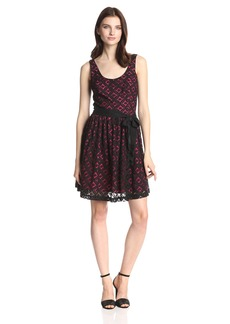 Amanda Uprichard Women's Lace Fit and Flare Dress with Bow Belt