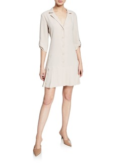 Amanda Uprichard Anaheim Button-Front 3/4-Sleeve Pleated-Hem Dress