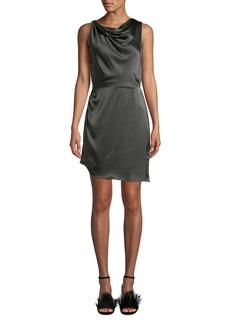Amanda Uprichard Arielle Cowl-Neck Silk Short Dress