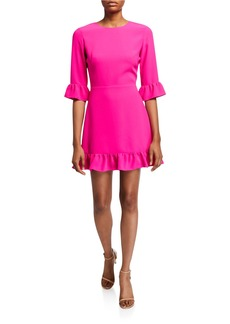 Amanda Uprichard Candice 3/4-Sleeve Flounce Dress