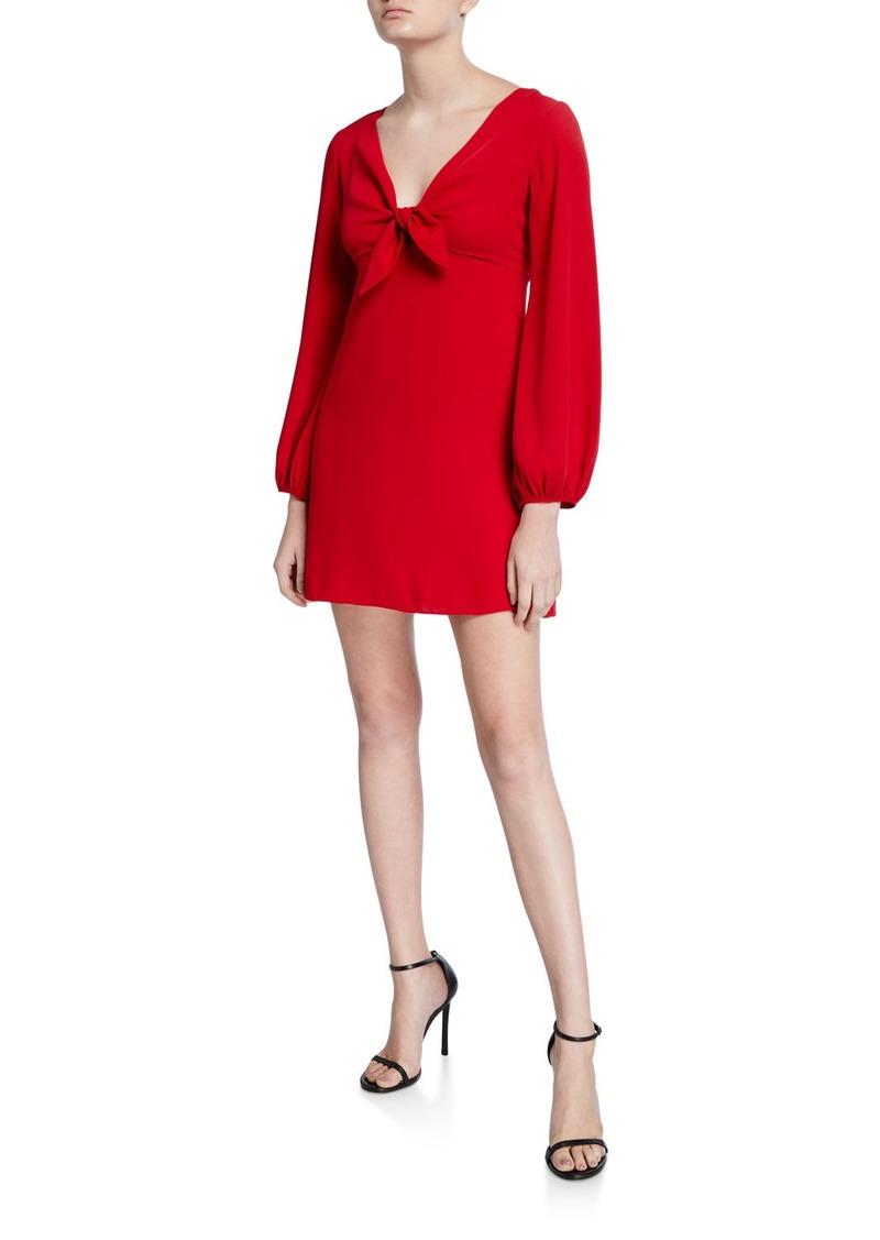 Amanda Uprichard Chyler Tie-Front Long-Sleeve Dress