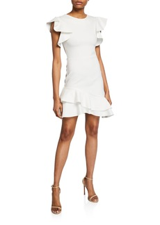 Amanda Uprichard Eclipse Dress w/ Ruffle Trim Detail.