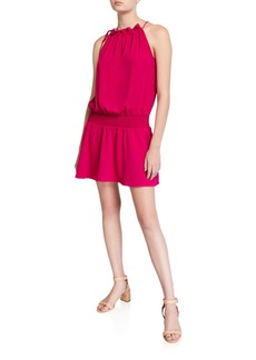 Amanda Uprichard Emlyn Sleeveless Tie-Neck Short Dress