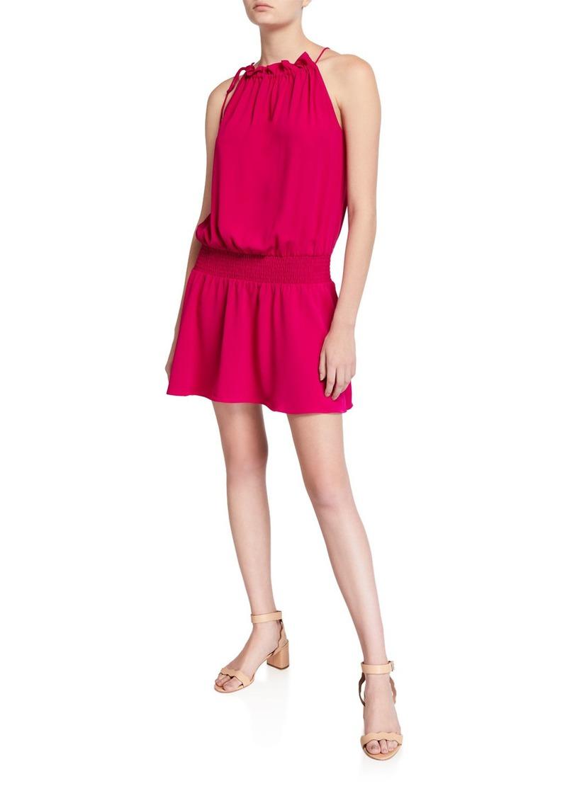 Amanda Uprichard Emlyn Sleeveless Tie-Neck Short Dress