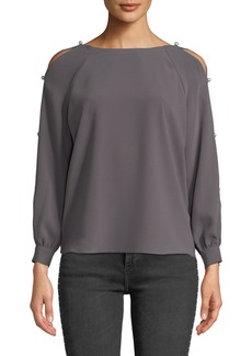 Amanda Uprichard Genesee Pearl Cold-Shoulder Long-Sleeve Top
