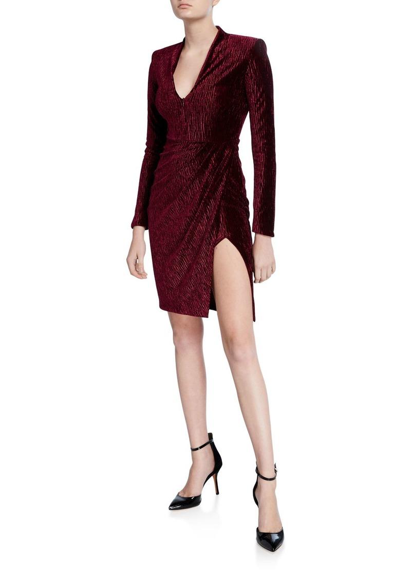 Amanda Uprichard Joaquin Long-Sleeve Velvet Cocktail Dress