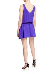 Amanda Uprichard Katia Smocked V-Neck Mini Dress