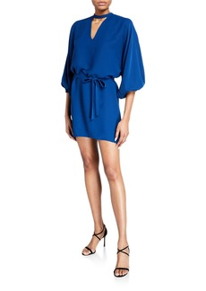 Amanda Uprichard Linette Mock-Neck Blouson-Sleeve Mini Dress