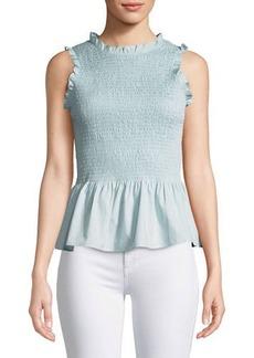 Amanda Uprichard Lorraine Smocked Sleeveless Ruffle Top