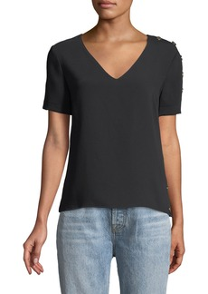 Amanda Uprichard Melissa Snap-Up V-Neck Tee