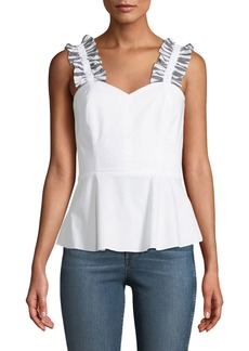 Amanda Uprichard Penn Ruffle Cotton Peplum Top