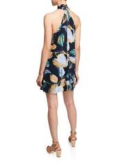Amanda Uprichard Queens Floral-Print Halter Short Dress