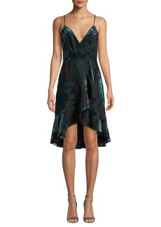 Amanda Uprichard Rose Velvet Flounce Wrap Cocktail Dress